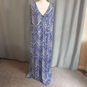 Lane Bryant maxi dress Size 26 28 blue white print